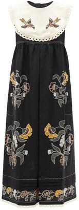 Vita Kin Heavenly Swallows Embroidered Linen Midi Dress - Black Multi