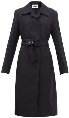Jil Sander Belted Technical-twill Coat - Womens - Navy