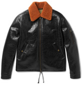Valentino Shearling-trimmed Textured-leather Blouson Jacket - Black