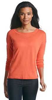 Chaus Three Quarter Pullover Linen Sweater