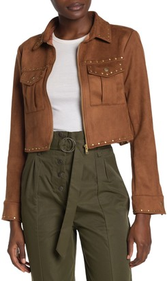 Tularosa Abbot Studded Faux Suede Crop Jacket