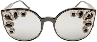 Cat Eye Rad + Refined Crystal Embellished Sunglasses
