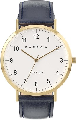 Barrow Petite Watch With Gold Mesh Strap & Navy Leather Strap