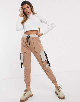 Sixth June cargo pants with contrast pockets and buckle straps