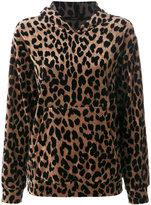 Odeeh leopard print hoodie - women - Cotton/Polyamide/Viscose - 36