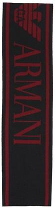 Emporio Armani Kids Logo wool-blend scarf