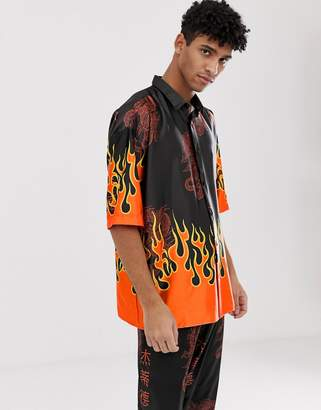 Jaded London co-ord festival co-ord shirt in black with flame print