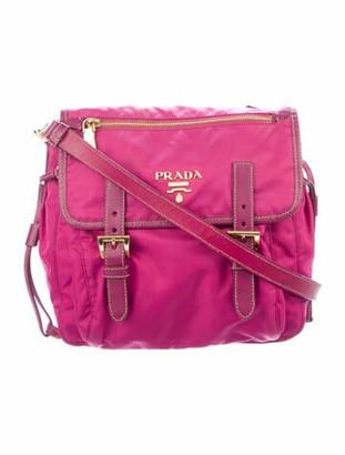 Prada Small Tessuto Leather-Trimmed Messenger Bag gold