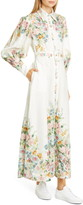 Zimmermann Wavelength Long Sleeve Linen Maxi Dress