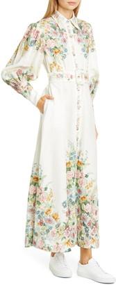 Zimmermann Wavelength Long Sleeve Linen Maxi Dress