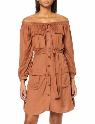 Lost Ink Women's Bardot Shirt Dress with Pockets