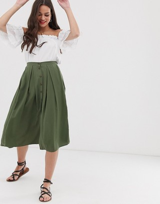 Asos DESIGN floaty midi skirt with button front