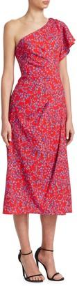 Carolina Herrera One-Shoulder Floral Dress