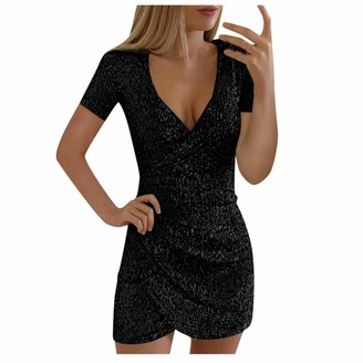 YBWZH Women Dresses Women's Sparkly Sequin Slim Dress V-Neck Short Sleeve Ruched Elegant Open-Forked Wrap Dress Glitter Mini Dress Party Prom Sheath Dress Black