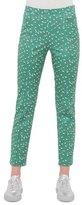 Akris Punto Franca Tumbling-Print Ankle Pants, Grass/Cream