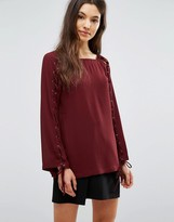 Greylin Jamie Grommet Lace Up Blouse