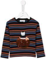 Rykiel Enfant striped cat and pumpkin T-shirt
