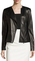 Elie Tahari Wilma Leather Moto Jacket, Black