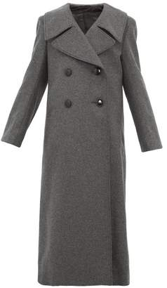 Lemaire Double Breasted Wool Blend Coat - Womens - Dark Grey