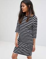 Selected Natali 3/4 Sleeve Striped Jersey Shift Dress