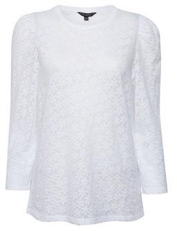Dorothy Perkins Womens White Long Sleeve Jacquard Top, White