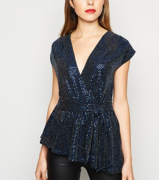 New Look Sequin Belted Asymmetric Top
