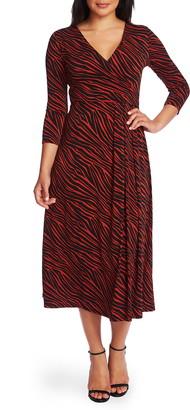 Chaus Zebra Stripe Faux Wrap Dress
