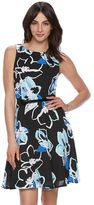 Elle Women's ELLETM Pleated Print Fit & Flare Dress