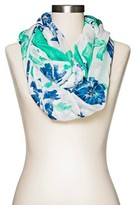 Merona Women's Floral Infinity Scarf Blue and Green