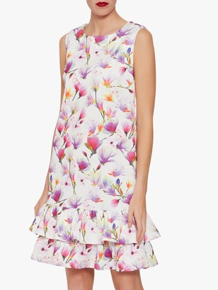 Gina Bacconi Cornelia Floral Dress with Frill Peplum, Pink/Multi
