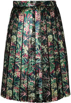 MSGM metallic floral pleated skirt - women - Polyester/Metallic Fibre - 40