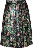 MSGM metallic floral pleated skirt