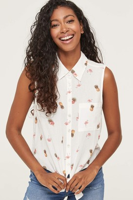 Ardene Button Front Knotted Printed Top
