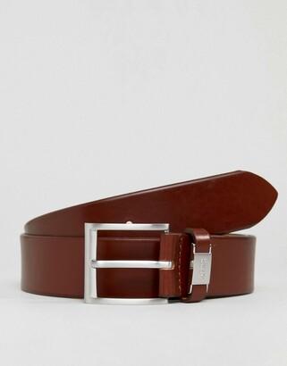 HUGO BOSS Connio leather logo keeper belt in tan