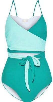 Diane von Furstenberg Von Cutout Two-tone Wrap Swimsuit