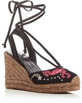 Marc Jacobs Nathalie Appliqué Embellished Espadrille Wedge Sandals