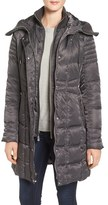 Vince Camuto Women's Knit Trim Hooded Down & Feather Fill Coat