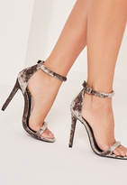 Missguided Brown Velvet Rounded Strap Barely There Heels