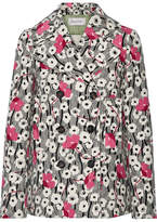 Valentino Double-breasted Floral-print Wool Jacket