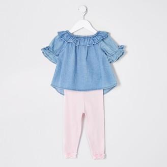 River Island Mini girls Blue denim bardot top outfit