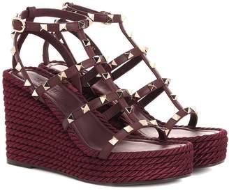 Valentino Garavani Torchon leather wedge sandals
