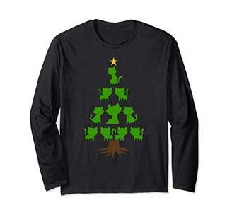 Xmas Tree Made Out of Cats - Christmas Cat Tree Long Sleeve T-Shirt