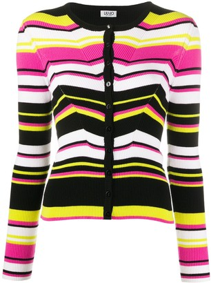 Liu Jo Fitted Striped Knitted Cardigan