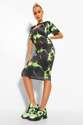 boohoo Lightning Print Crop Top Midi Dress Set