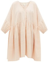 Anaak - Pia Pintucked Checked Cotton Shirtdress - Womens - Light Pink