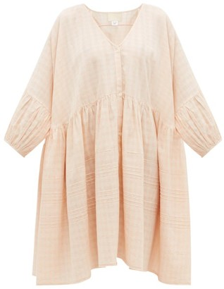 Anaak Pia Pintucked Checked Cotton Shirt Dress - Light Pink