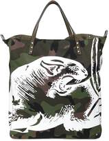 Valentino Panther Print Camo Canvas Tote Bag