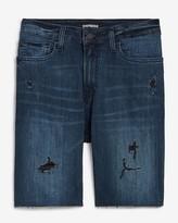 """Express 9"""" Hyper Stretch Dark Wash Jean Shorts"""