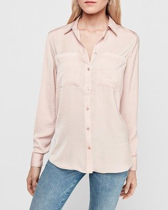 Express Satin Two Pocket Boyfriend Shirt