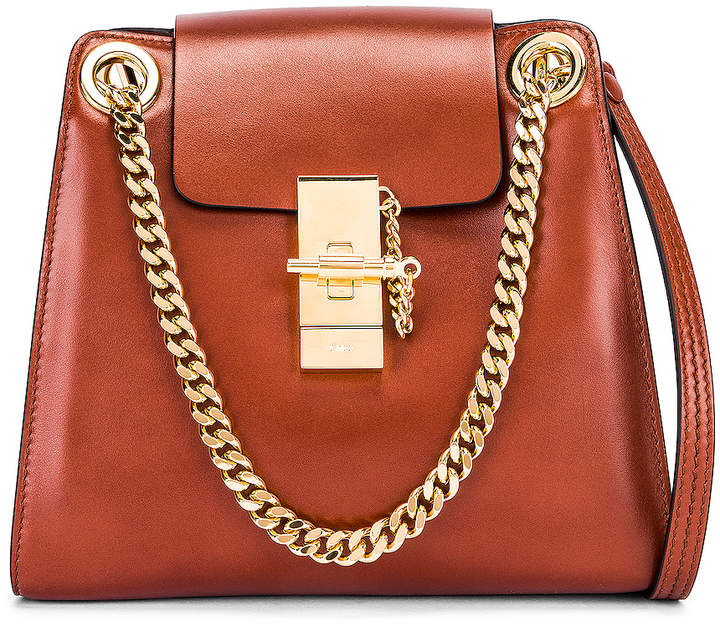 Chloé Small Leather Annie Bag in Sepia Brown | FWRD
